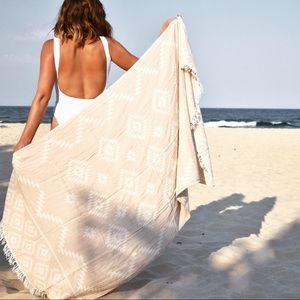Aztec Turkish Towel/Throw - Beige
